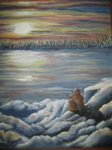 Original 2011 oil painting of a girl and a dog sitting on the snow watching a sunset across a frozen lake.