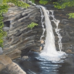 Original 2013 oil painting of a young man swimming at a waterfall in the BWCA.