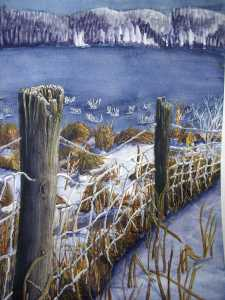 An original 2008 watercolor painting of a frosty woven wire fence near a small, frozen lake.
