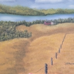 Original 2013 oil painting of a farm in the distance nestled near a river.
