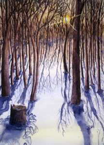 An original 2008 watercolor painting of a woods of bare winter trees at sunset
