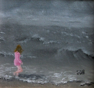 Original 2013 oil painting of a girl walking along the shore of a lake in the wind.