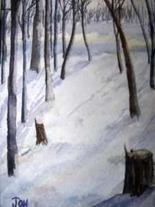 An original 2008 watercolor painting of a snowy woods.