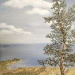 Original 2013 oil painting of a jack pine on a cliff overlooking Lake Superior.