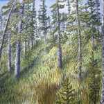 An original 2008 watercolor painting of a woods in summer.