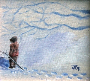 Original 2013 oil painting of a little boy making footprints in the snow.