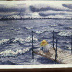 An original 2008 watercolor painting of a girl sitting on a dock on a windy, wavy evening watching the sunset across a lake.