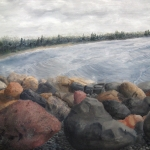 Original 2013 oil painting of Rocks near Mille Lacs Lake.