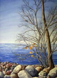 An original 2009 watercolor painting of nearly bare trees near the rocky shore of Mille Lacs Lake in late autumn.