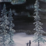Original 2013 oil painting of a child and an adult watching the northern lights in winter.