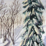 An original 2009 watercolor painting of a snowy spruce tree near a small creek in the winter.
