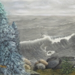 Original 2013 oil painting of large waves coming in to the Lake Superior North Shore.