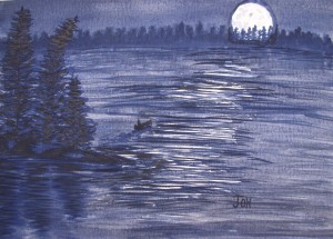 An original watercolor painting of someone paddling a canoe on a quiet woodland lake in the late evening. The rising moon light is reflecting off the ripples in the water.