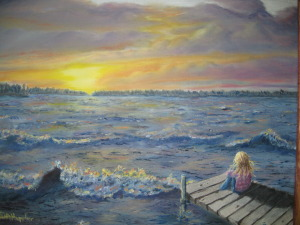 """ Original 2011 oil painting of a girl sitting on a dock watching a sunset across a lake on a windy evening."