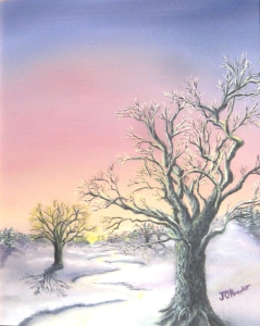 Original 2013 oil painting of an oak tree at sunset in winter.