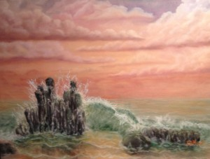 Original 2013 oil painting of ocean waves breaking on a beach at sunset.