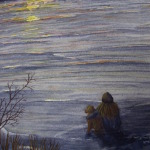 An original 2010 watercolor painting of a girl and a dog sitting together on a cold winter evening watching the sunset over a frozen lake.