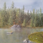 Original 2013 oil painting of a man fishing from a boat on a small lake in a pine forest.