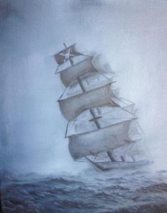 Original 2013 oil painting of a pirate ship in the fog.