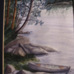 Original 2007 watercolor painting of a canoe pulled up to the shore of a lake in the BWCA .
