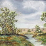 Original 2013 oil painting of a creek on the prairie.
