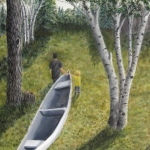 Original 2013 oil painting of a young man and a toddler pulling a canoe up a hill.