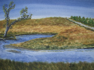 Original 2007 watercolor painting of a tree on the prairie near the Sioux River