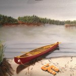 Original 2013 oil painting of a red canoe on the sandy shore of a lake with old orange life jackets strewn on the beach.