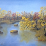 Original 2013 oil painting of the shoreline along the Rum River in autumn.