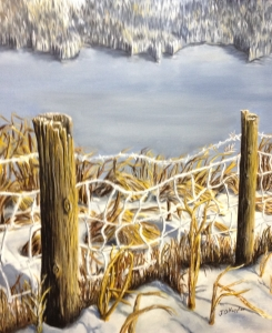 Original 2011 oil painting of a woven wire fence near a lake in early winter .