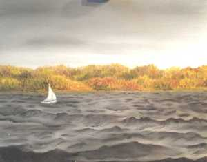 Original 2013 oil painting of a sail boat on a lake in the fall.