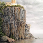 Original 2012 oil painting of Splitrock light house on a cliff on Lake Superior.