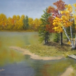 Original 2013 oil painting of a point near a lake in the woods in autumn.