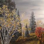 Original 2013 oil painting of autumn trees.