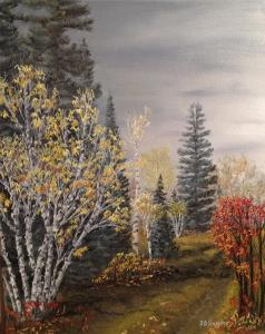 Original 2013 oil painting of autumn trees.