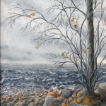 Original 2013 oil painting of a nearly bare trees near the rocky shore of Mille Lacs Lake