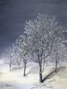 Original 2012 oil of a frosty tree in the winter.