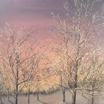 Original 2012 oil painting of a frosty tree at sunset in the winter.