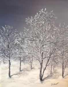 Original 2012 oil painting of a frosty tree with a violet sky in the winter.