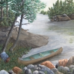 Original 2012 oil painting of a canoe pulled up to the shore of a lake in the BWCA .