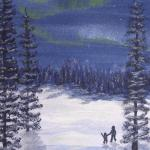 Original 2007 watercolor painting of a parent and child walking in a winter woods and watching the northern lights.