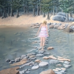 Original 2014 oil painting of a young woman crossing the Mississippi Headwaters on stepping stones on a sunny day.