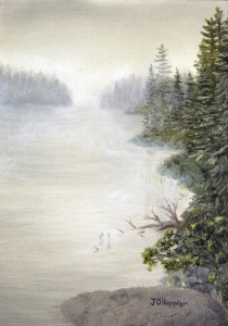 Original 2014 oil painting of a small lake in the woods in the mist.