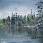 Original 2014 oil painting of a BWCA shoreline with reflection .