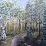 Original 2014 oil painting of a rural Northern Minnesota driveway.