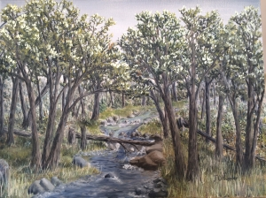 Original oil painting of a creek running through a woods.