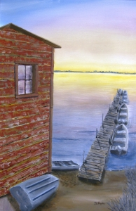 Original 2014 oil painting of a dock in a lake with fishing boats along one side.