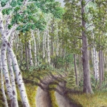 Original 2012 oil painting of a rural Northern Minnesota driveway .