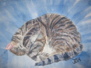 Original 2007 watercolor painting of a grey tiger striped cat sleeping curled up.