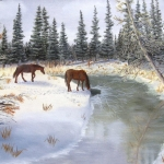 Original 2014 oil painting of two horses near a river in the winter.